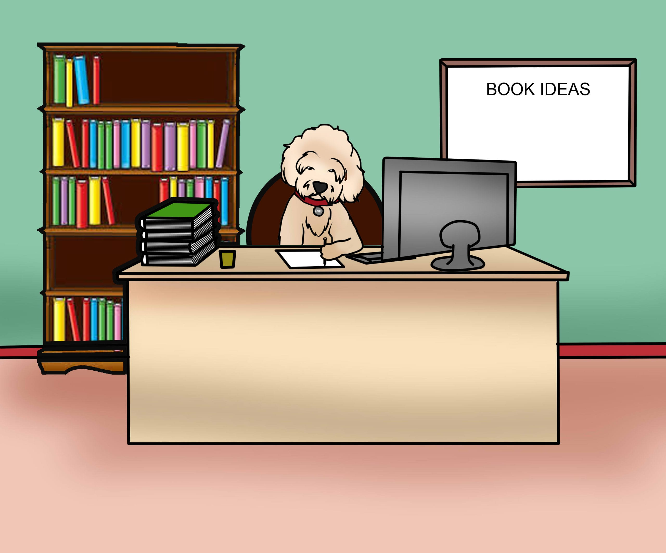 cartoon picture of apple the golden doodle working in her office