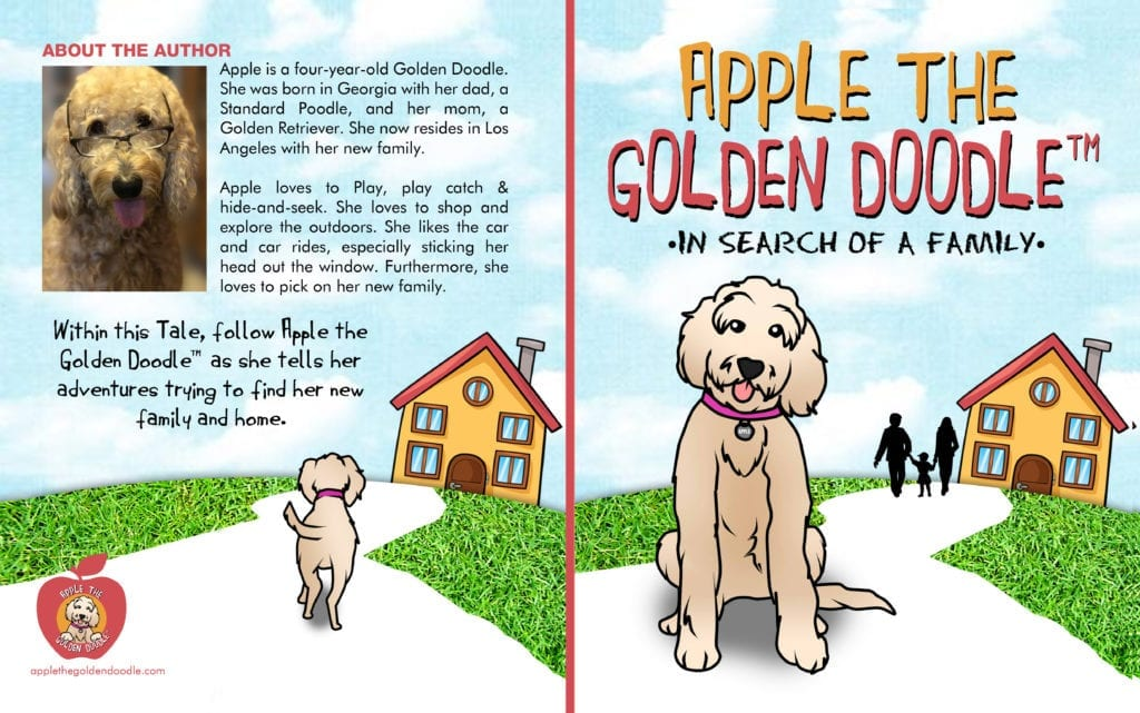Picture of Apple the Golden Doodle In Search of a Family front and back book cover